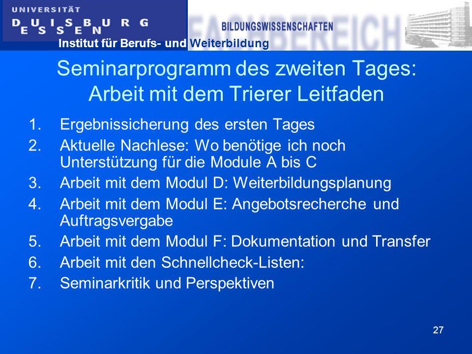 Seminarprogramm des zweiten Tages: Arbeit mit dem Trierer Leitfaden