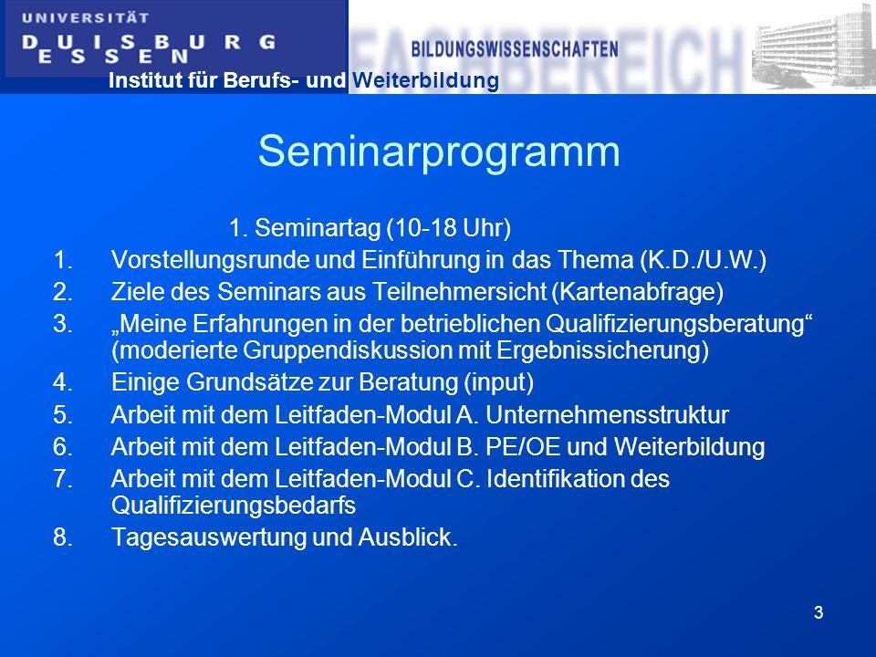 Seminarprogramm 1. Seminartag (10-18 Uhr)