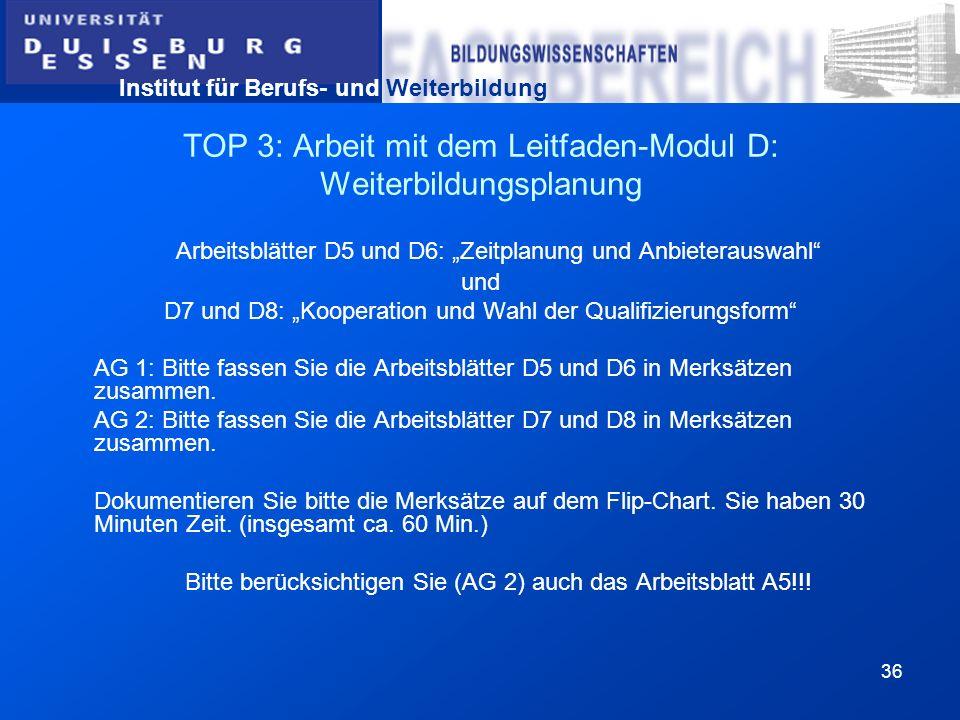 TOP 3: Arbeit mit dem Leitfaden-Modul D: Weiterbildungsplanung