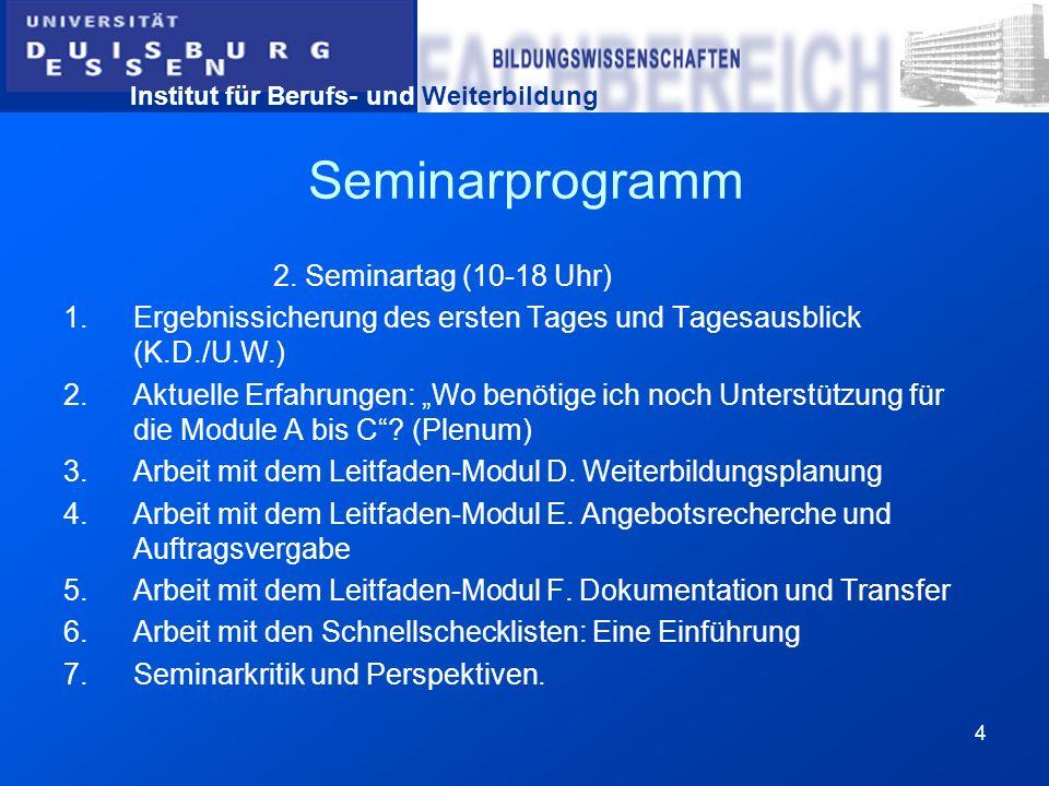 Seminarprogramm 2. Seminartag (10-18 Uhr)