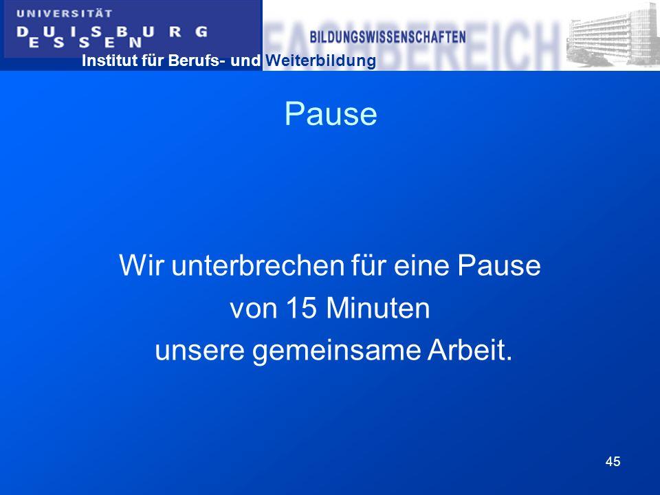 Pause Wir unterbrechen für eine Pause von 15 Minuten