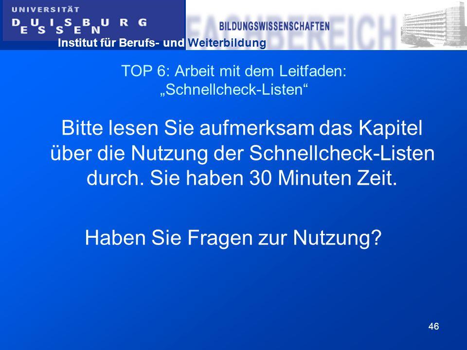 """TOP 6: Arbeit mit dem Leitfaden: """"Schnellcheck-Listen"""