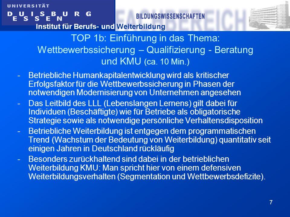 TOP 1b: Einführung in das Thema: Wettbewerbssicherung – Qualifizierung - Beratung und KMU (ca. 10 Min.)