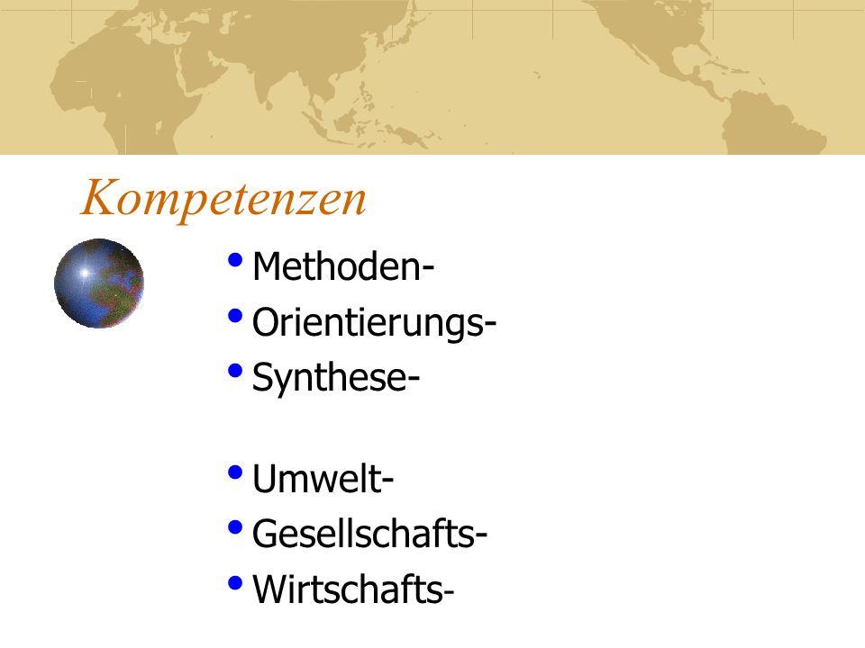 Methoden- Orientierungs- Synthese- Umwelt- Gesellschafts- Wirtschafts-