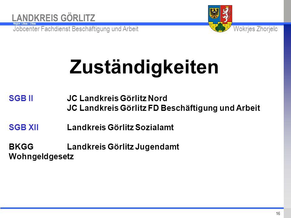 Zuständigkeiten SGB II JC Landkreis Görlitz Nord