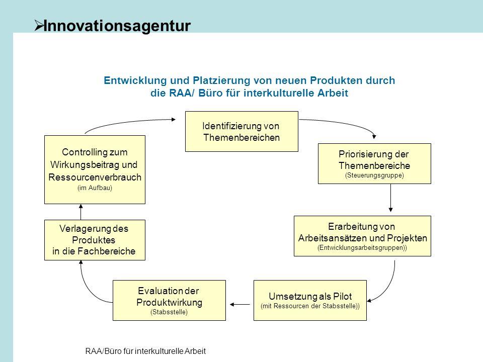 Innovationsagentur Entwicklung und Platzierung von neuen Produkten durch die RAA/ Büro für interkulturelle Arbeit.