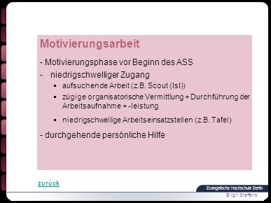 Motivierungsarbeit - Motivierungsphase vor Beginn des ASS
