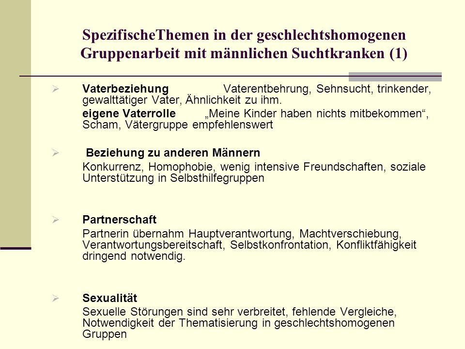 SpezifischeThemen in der geschlechtshomogenen Gruppenarbeit mit männlichen Suchtkranken (1)