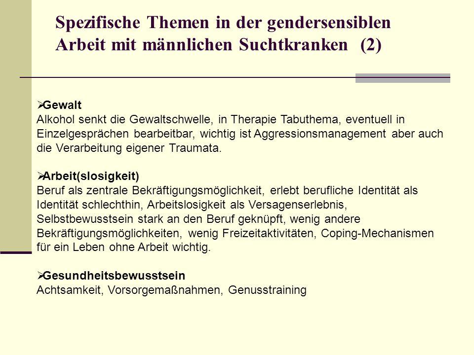 Spezifische Themen in der gendersensiblen Arbeit mit männlichen Suchtkranken (2)