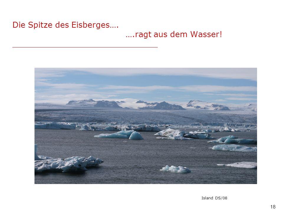 Die Spitze des Eisberges…. …. ragt aus dem Wasser