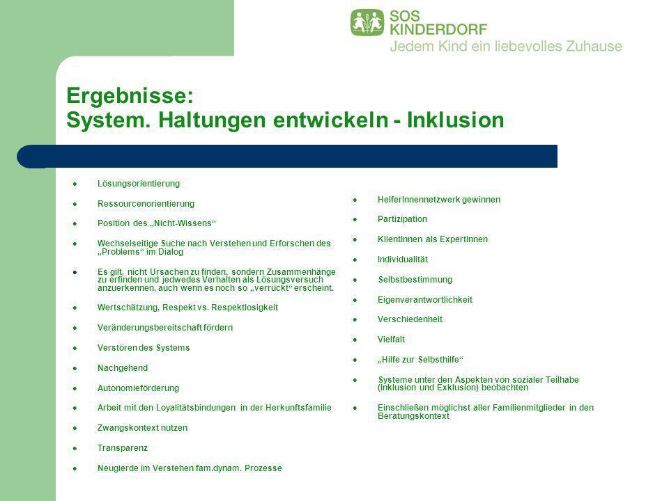 Ergebnisse: System. Haltungen entwickeln - Inklusion