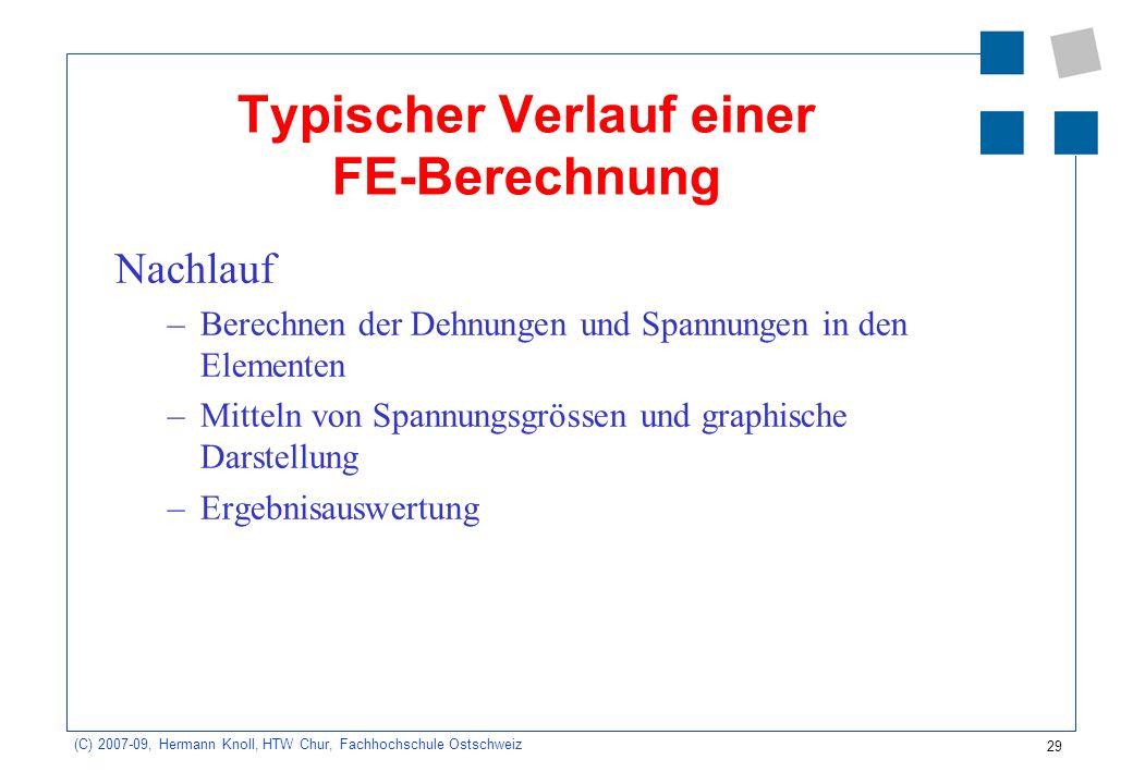 Typischer Verlauf einer FE-Berechnung