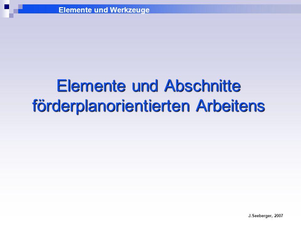 Elemente und Abschnitte förderplanorientierten Arbeitens