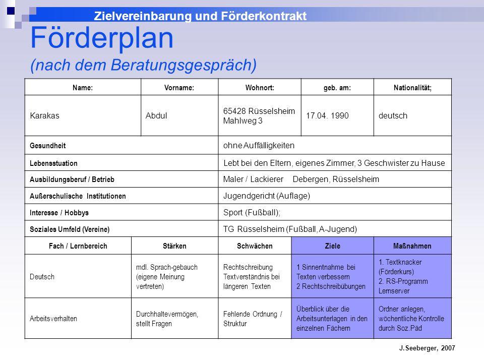 Förderplan (nach dem Beratungsgespräch)