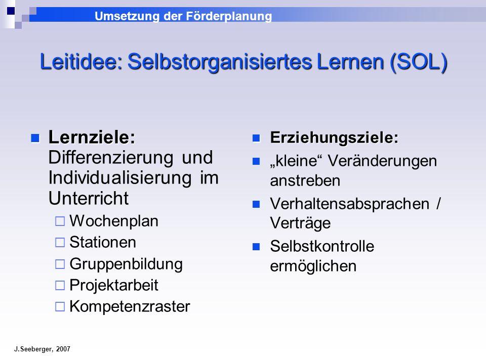 Leitidee: Selbstorganisiertes Lernen (SOL)