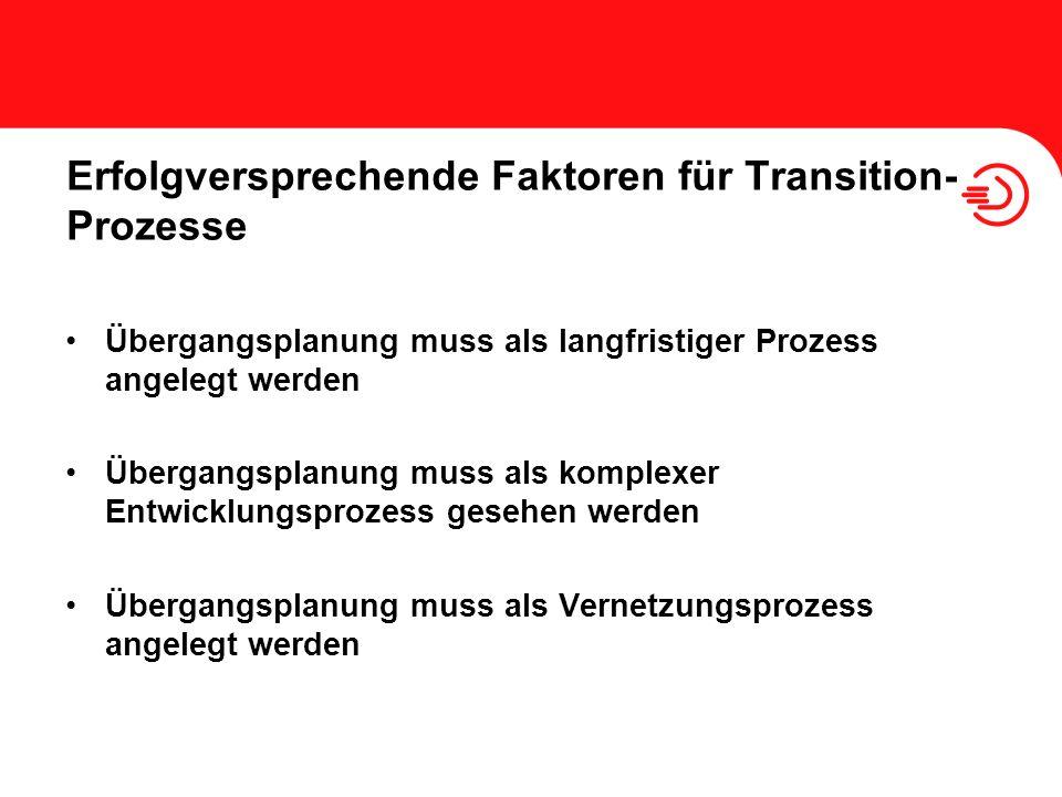 Erfolgversprechende Faktoren für Transition-Prozesse