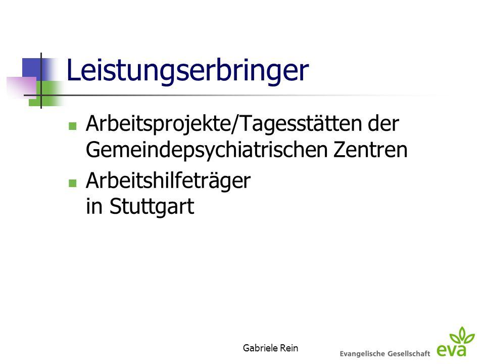 Leistungserbringer Arbeitsprojekte/Tagesstätten der Gemeindepsychiatrischen Zentren. Arbeitshilfeträger in Stuttgart.