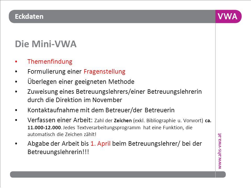 Die Mini-VWA Themenfindung Formulierung einer Fragenstellung