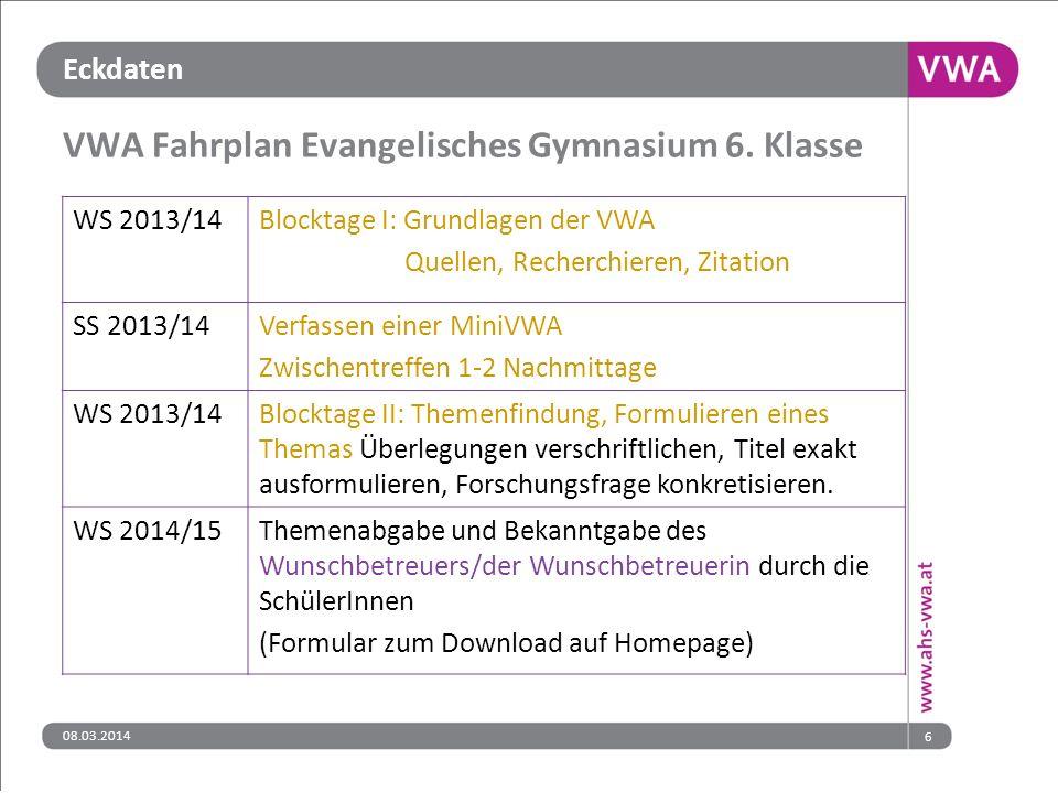 VWA Fahrplan Evangelisches Gymnasium 6. Klasse