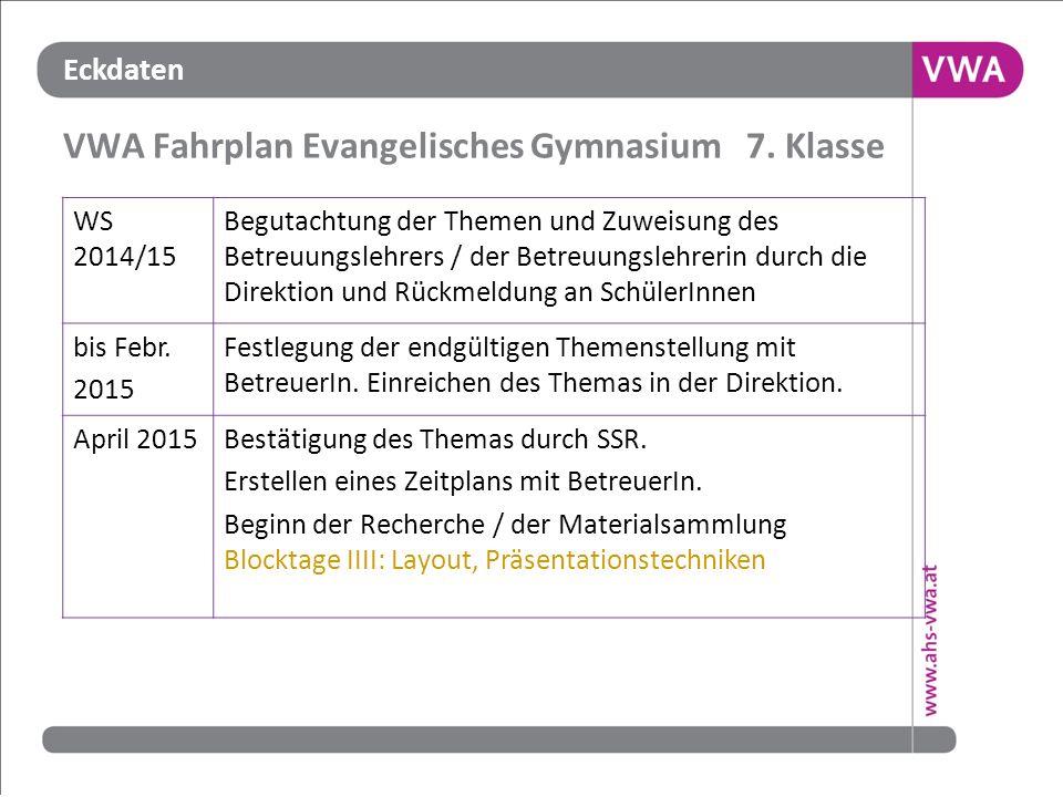 VWA Fahrplan Evangelisches Gymnasium 7. Klasse