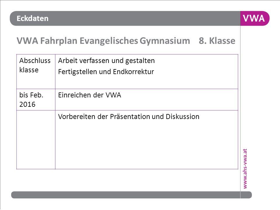 VWA Fahrplan Evangelisches Gymnasium 8. Klasse