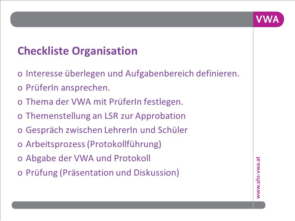 Checkliste Organisation