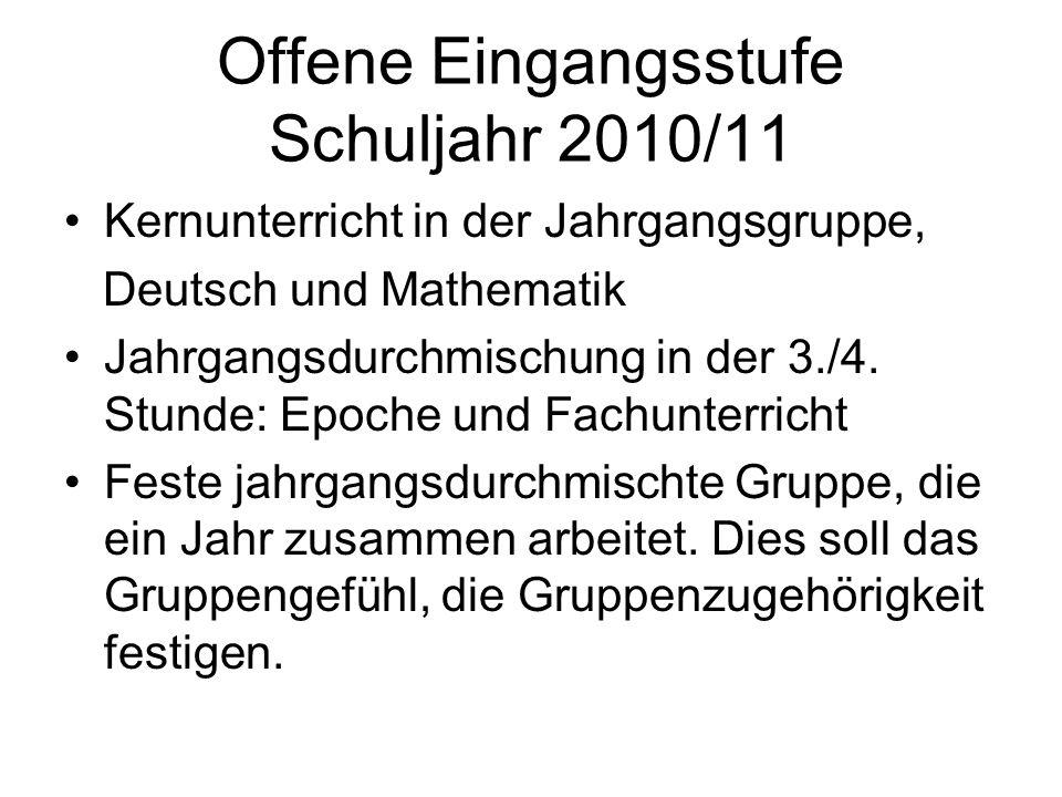 Offene Eingangsstufe Schuljahr 2010/11