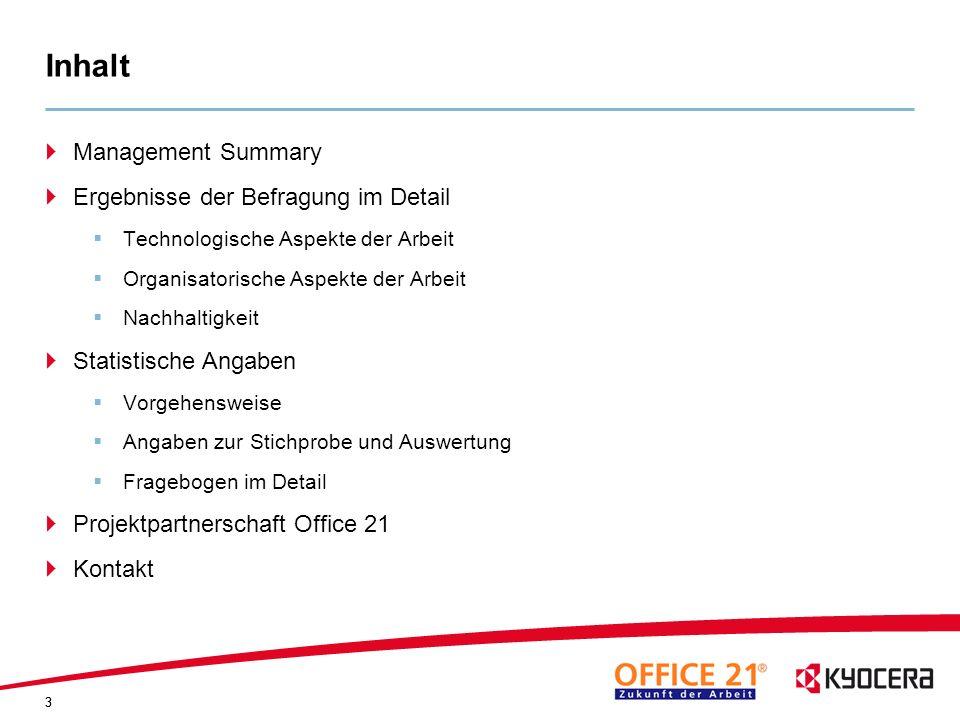 Inhalt Management Summary Ergebnisse der Befragung im Detail