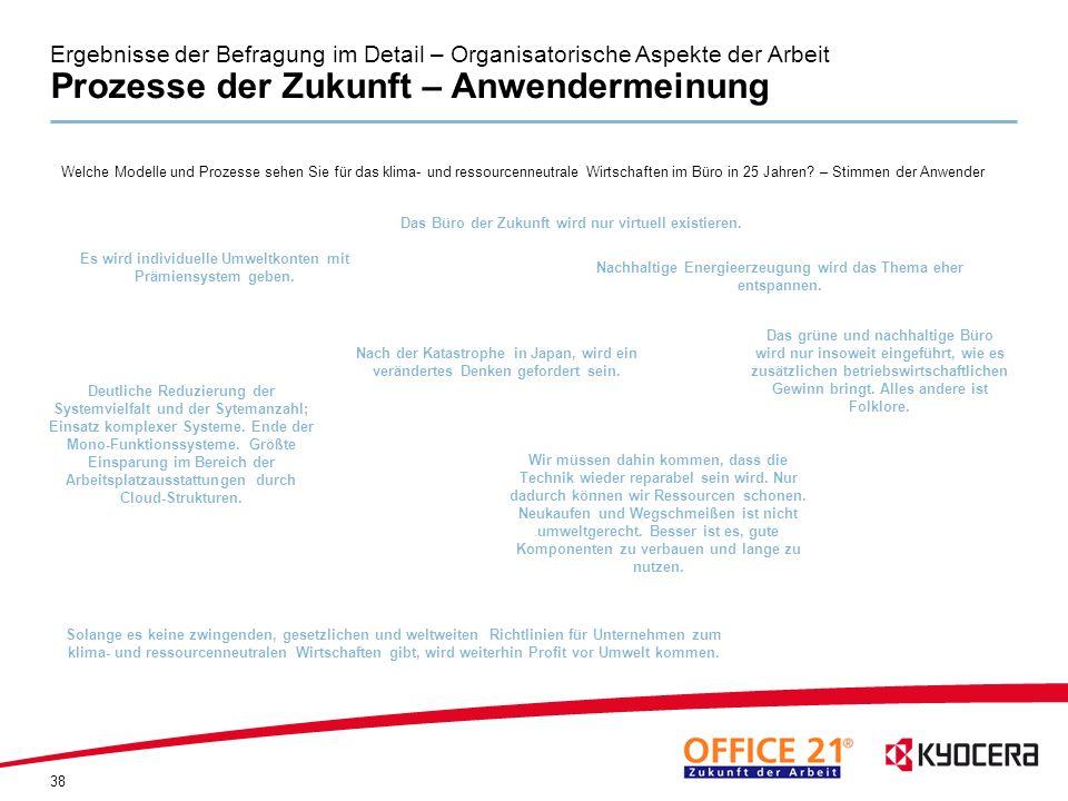 Ergebnisse der Befragung im Detail – Organisatorische Aspekte der Arbeit Prozesse der Zukunft – Anwendermeinung