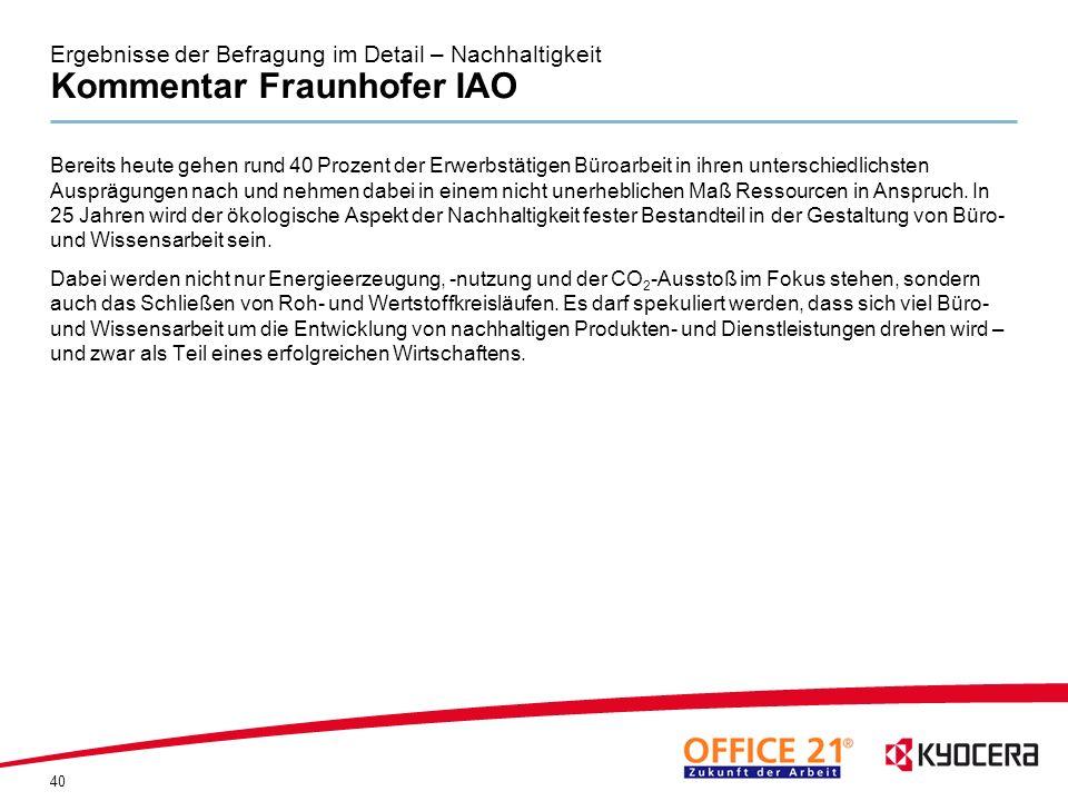 Ergebnisse der Befragung im Detail – Nachhaltigkeit Kommentar Fraunhofer IAO