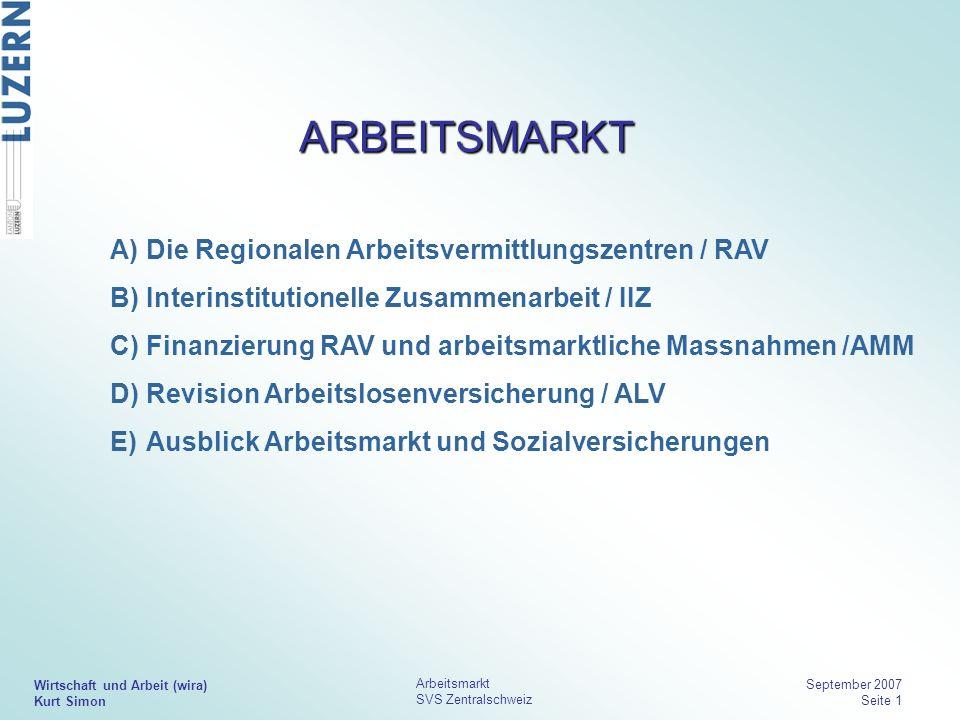 ARBEITSMARKT Die Regionalen Arbeitsvermittlungszentren / RAV