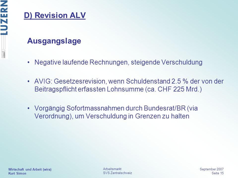 D) Revision ALV Ausgangslage
