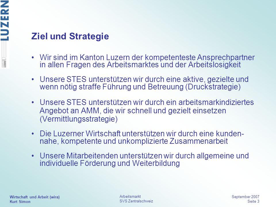 Ziel und Strategie Wir sind im Kanton Luzern der kompetenteste Ansprechpartner in allen Fragen des Arbeitsmarktes und der Arbeitslosigkeit.