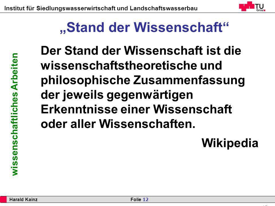 """""""Stand der Wissenschaft"""