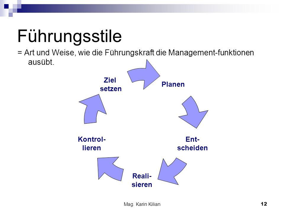 Führungsstile = Art und Weise, wie die Führungskraft die Management-funktionen ausübt.