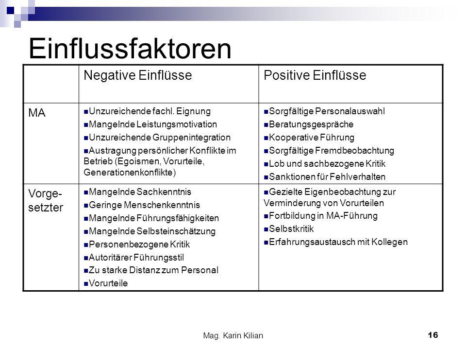 Einflussfaktoren Negative Einflüsse Positive Einflüsse MA