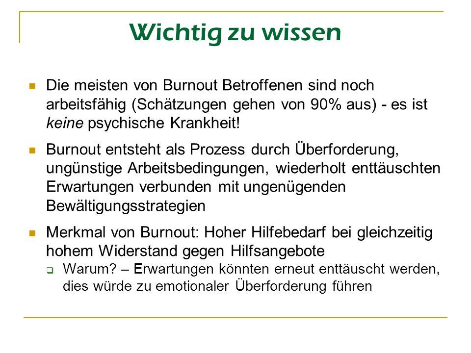 Wichtig zu wissen Die meisten von Burnout Betroffenen sind noch arbeitsfähig (Schätzungen gehen von 90% aus) - es ist keine psychische Krankheit!