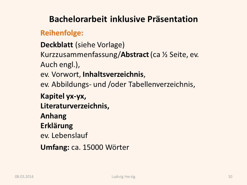 Bachelorarbeit inklusive Präsentation