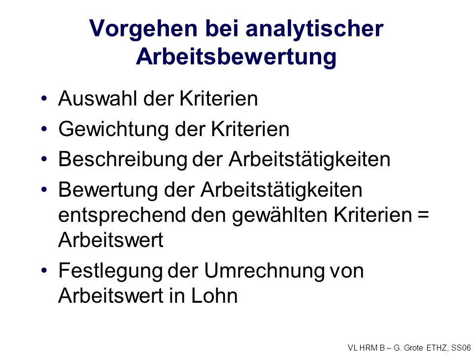 Vorgehen bei analytischer Arbeitsbewertung