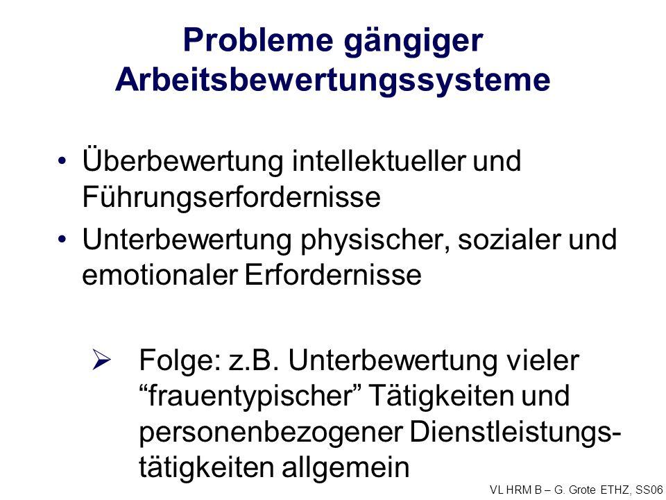 Probleme gängiger Arbeitsbewertungssysteme