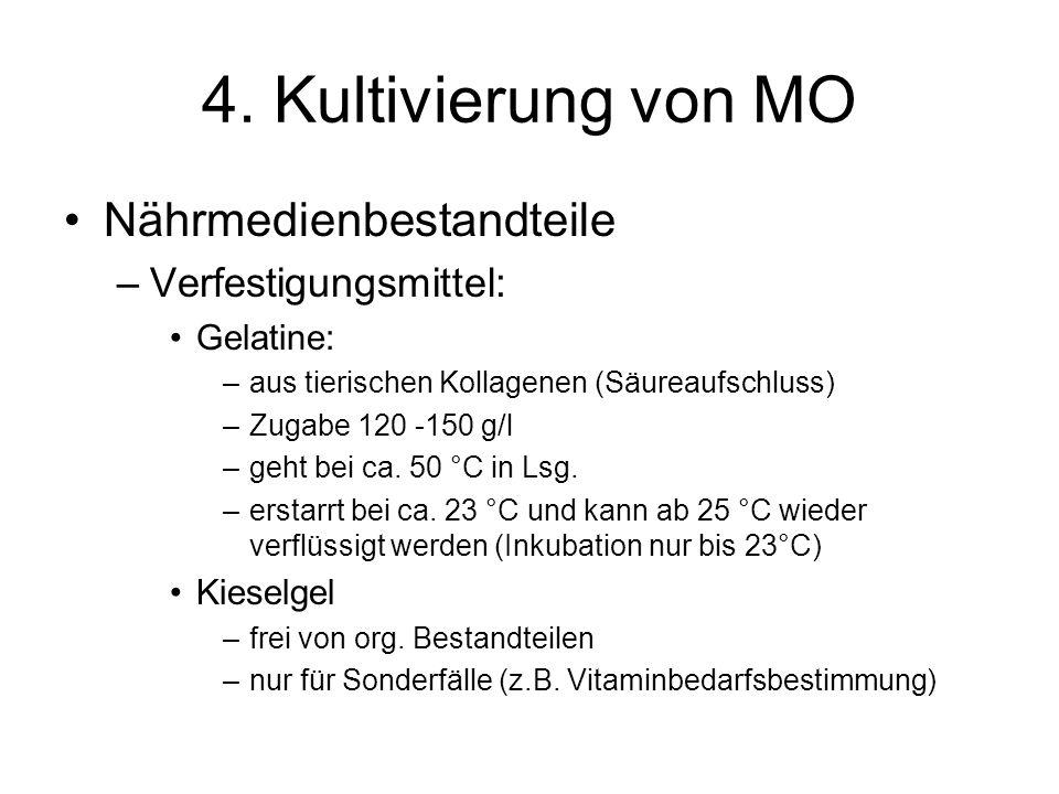 4. Kultivierung von MO Nährmedienbestandteile Verfestigungsmittel: