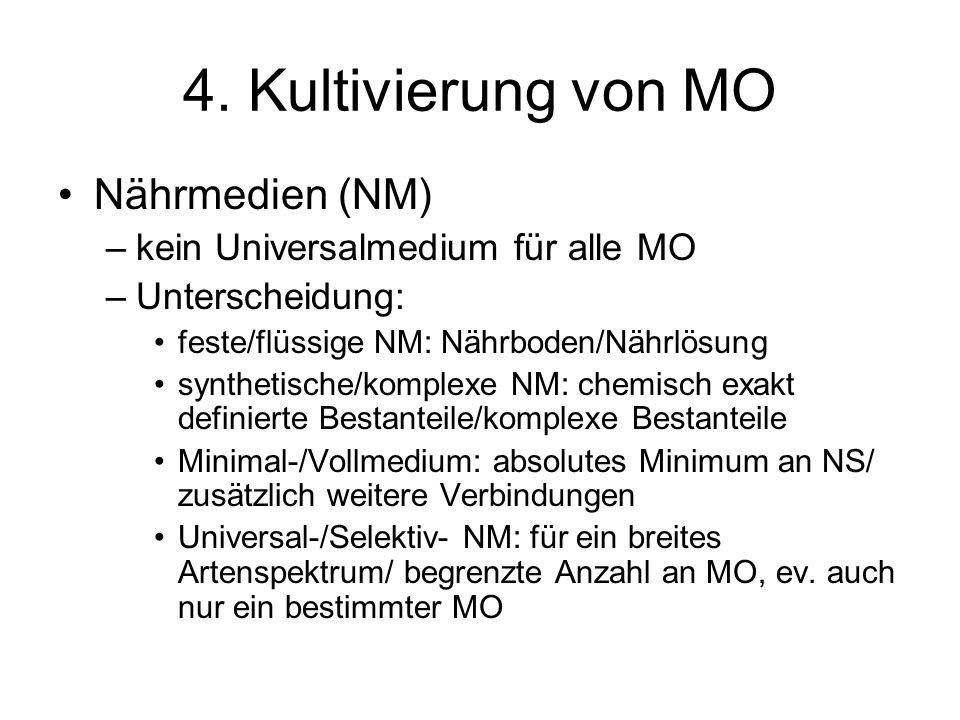 4. Kultivierung von MO Nährmedien (NM)