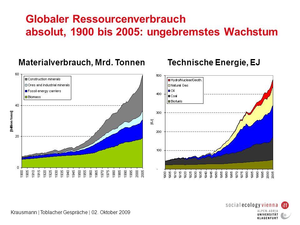 Globaler Ressourcenverbrauch absolut, 1900 bis 2005: ungebremstes Wachstum