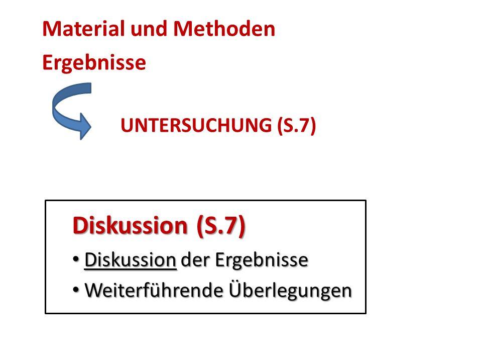Material und Methoden Ergebnisse Diskussion (S.7) UNTERSUCHUNG (S.7)