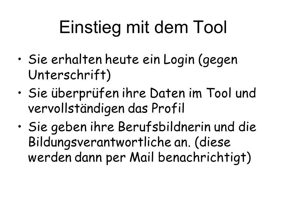 Einstieg mit dem ToolSie erhalten heute ein Login (gegen Unterschrift) Sie überprüfen ihre Daten im Tool und vervollständigen das Profil.