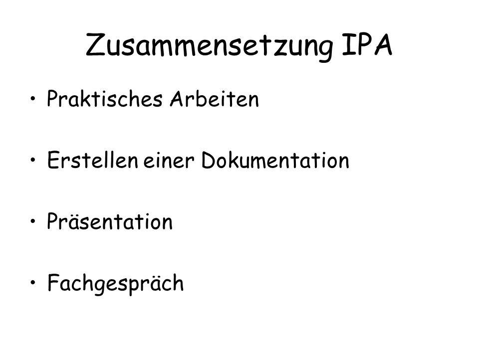Zusammensetzung IPA Praktisches Arbeiten Erstellen einer Dokumentation