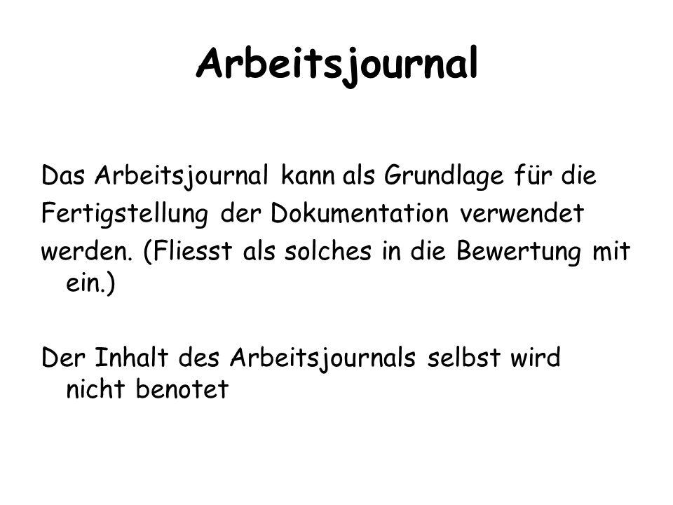Arbeitsjournal Das Arbeitsjournal kann als Grundlage für die