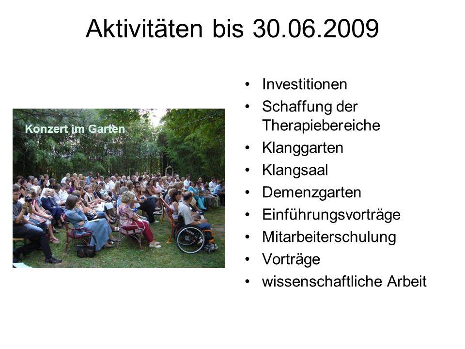 Aktivitäten bis 30.06.2009 Investitionen