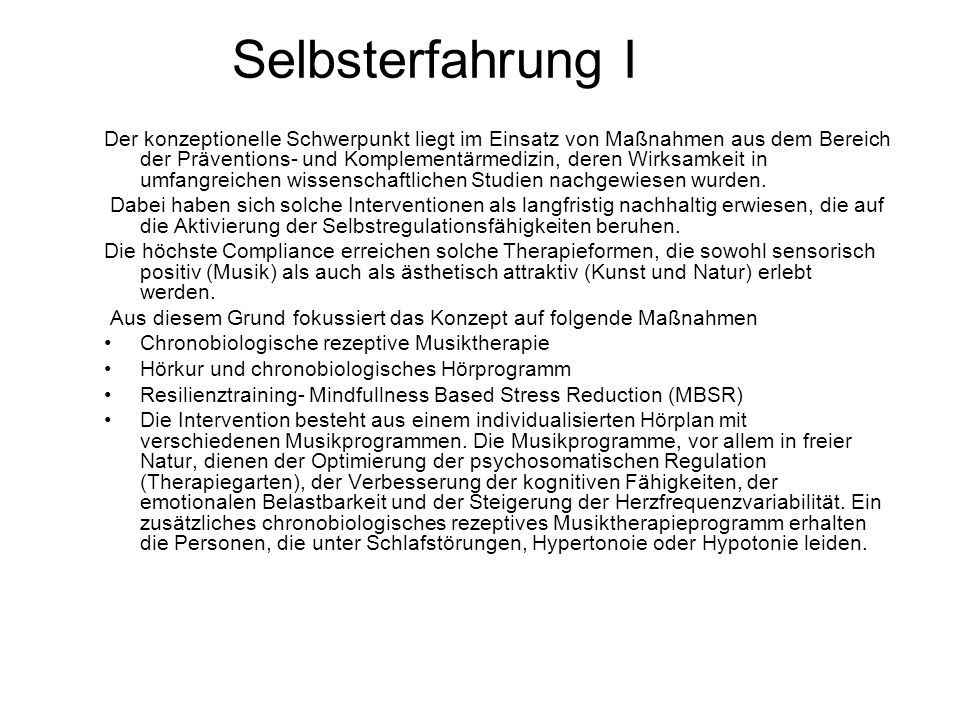 Selbsterfahrung I