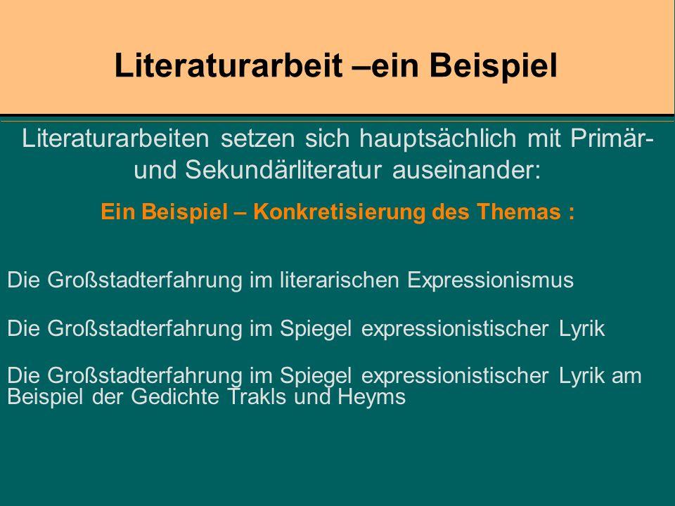 Literaturarbeit –ein Beispiel